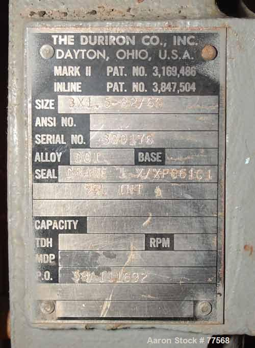 """USED: Durco Mark II centrifugal pump, ductile iron, size 3X1.5-82/6.3"""" inlet, 1-1/2"""" outlet, impeller driven by a 3 hp, 3/60..."""