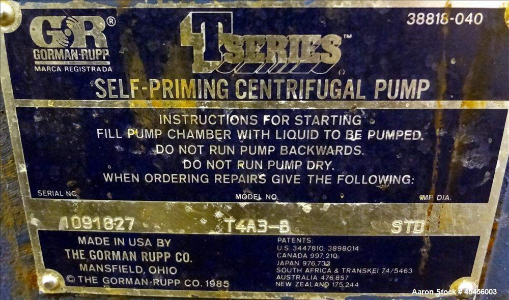 Used- Gorman-Rupp T-Series Self Priming Centrifugal Pump, Model T4A3-B, Carbon Steel. Rated approximate 250 gallons per minu...