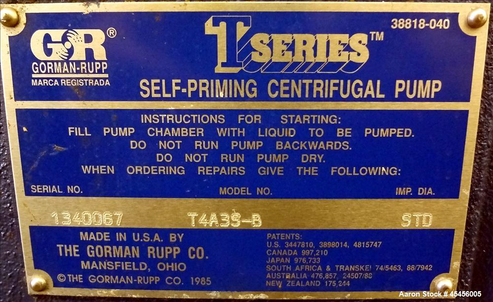 Used- Carbon Steel Gorman-Rupp T-Series Self Priming Centrifugal Pump, Model T4A3-B