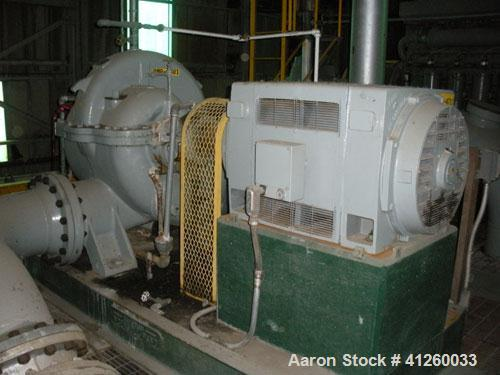 Used-Ingersoll-Rand Water Pump, driven by a 250 hp motor.  Pump rated 10,000 gpm. GE motor 250 hp, 895 rpm, 4000V, 3Ph, 60 H...