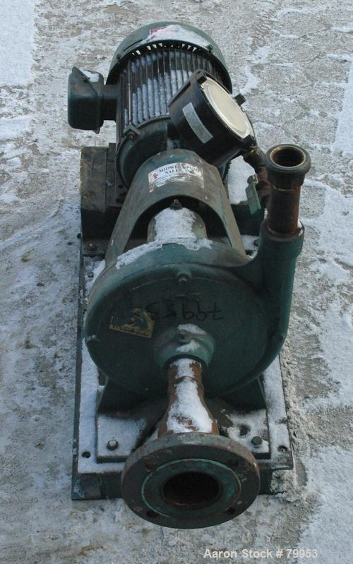 "USED: ITT Marlow centrifugal pump, model 1 1/4.9SLS, carbon steel. 2"" inlet, 1 1/4"" outlet, 9.375"" diameter impeller. Driven..."