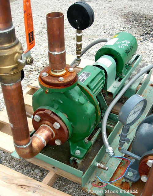 "Used- Taco Centrifugal Pump, Model FM1208, Carbon Steel. 2-1/2"" Inlet, 2"" outlet. Approximate capacity 35 gallons per minute..."