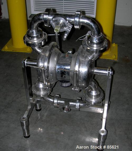 "USED: Depa air powered diaphragm pump, model DH40-UL-P-T-T, 316L stainless steel. Rated 17 gallons per minute, (.98"") max so..."