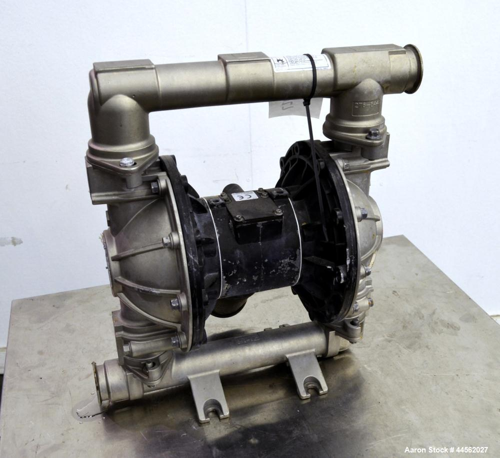 Used- Graco Husky 1590 Sanitary Air Operated Double Diaphragm Pump, Part# DBS311, Series K02A, 316 Stainless Steel. Rated ap...