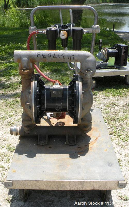 "Used- Husky Air Operated Double Diaphragm Pump, Series B99A, 316 Stainless Steel. 2"" NPT inlet/outlet.  Rated maximum 100 ga..."