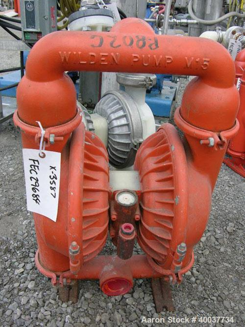 "Used- Wilden air operated double diaphragm pump, model M15, carbon steel. Rated 160 gallons per minute at 110 psi. 3/8"" max ..."