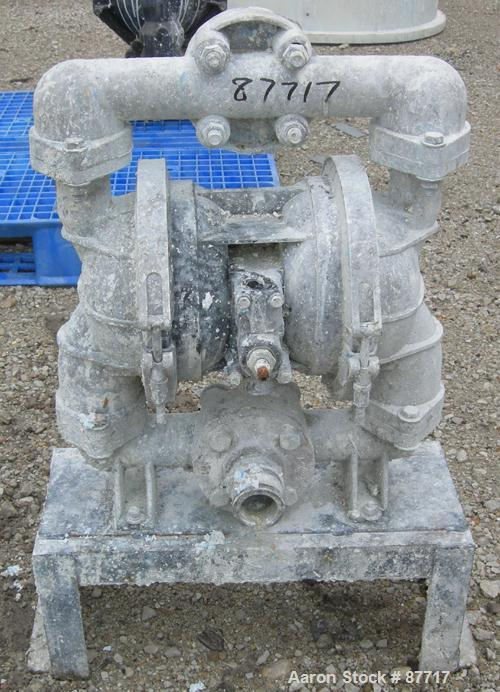 """Used- Double Diaphragm Pump, Aluminum. 2-1/2"""" NPT inlet/outlet. Mounted on a carbon steel base."""