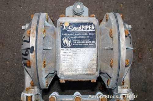 USED: Sandpiper air powered double diaphragm pump, 316 stainlesssteel, model SB1A, type SGN-1-SS. Capacity up to 42 gpm, max...
