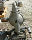 Used- Wilden Air Operated Double Diaphragm Pump, Model M8, 316 Stainless Steel. Rated 163 gallons per minute, 1/4