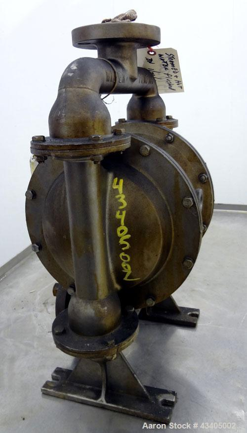 Used- Wilden Air Operated Double Diaphragm Pump, Model M4, 316 Stainless Steel. Rated approximate 70 gallons per minute, 3/1...