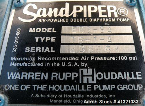 Used- Warren Rupp Sandpiper Air Powered Double Diaphragm Pump, Model EB3-SA, Type TB-1-A, Aluminum.Rated 0-204 gallons per m...