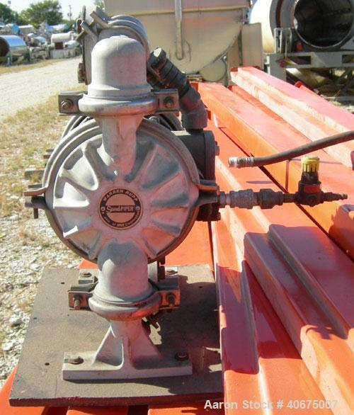 Used- Warren Rupp Sandpiper Air Powered Double Diaphragm Pump, model PB1-A, type TGN-3-PP, polypropylene. Rated 0-36 gallons...