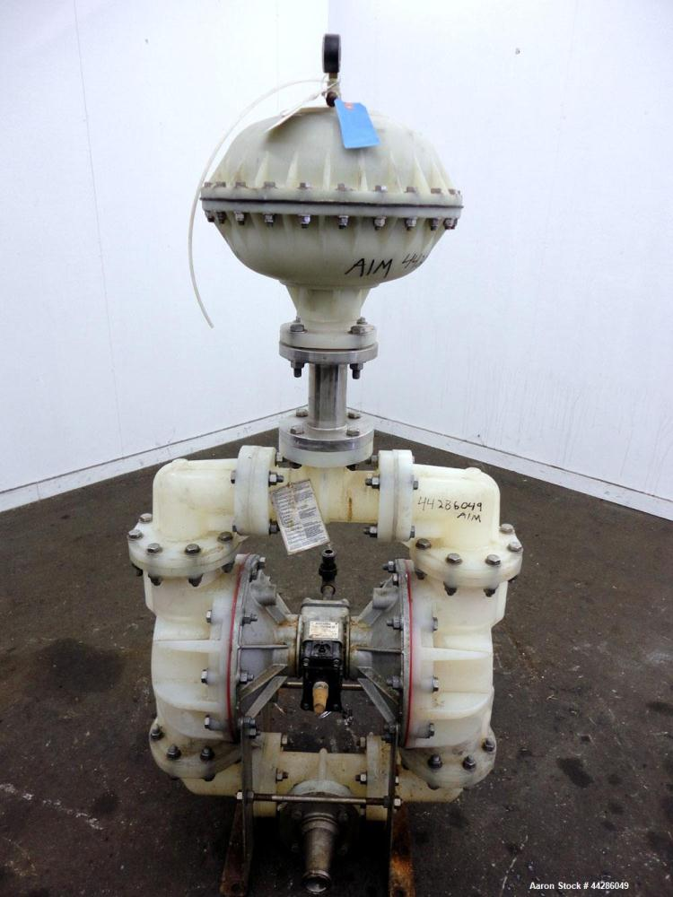 Used- Warren Rupp Sandpiper II S30 Air Operated Diaphragm Pump, Model S30B1P1PAAS000, Polypropylene. Rated 238 gallons per m...
