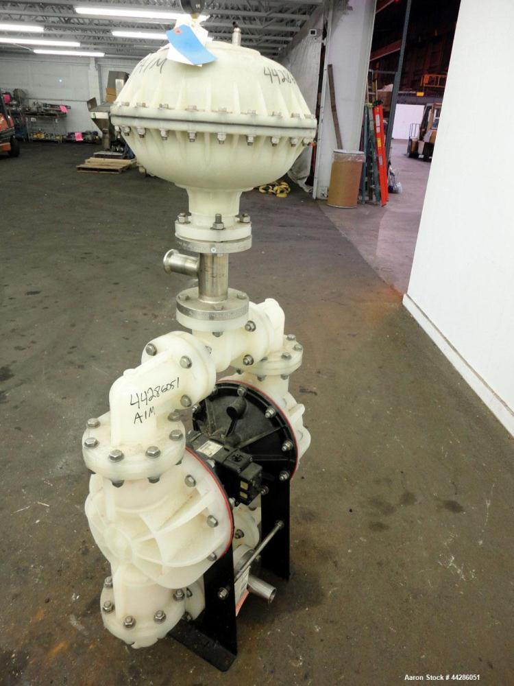Used- Warren Rupp Sandpiper II S30 Air Operated Diaphragm Pump, Model S30B2P1PQAS000, Polypropylene. Rated 238 gallons per m...