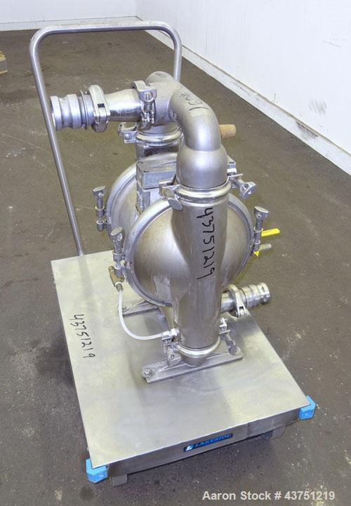 Used- Wilden Air Operated Double Diaphragm Pump, Model M8, 316 Stainless Steel. Rated approximately 135 gallons per minute, ...