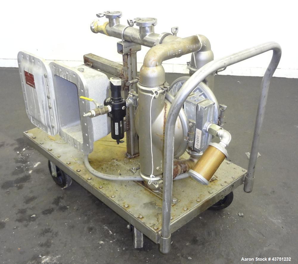 Used- Wilden Air Operated Double Diaphragm Pump, Model A8T/SAAA/FG/FG/FG/129, 316 Stainless Steel. Rated approximate 111 gal...