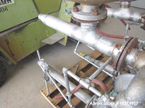 "Used-Wilden Double Diaphragm Pump, Model M15.  316 Stainless steel, 3"" flanged inlet/outlet.  Includes a Blacoh Sentry pulsa..."