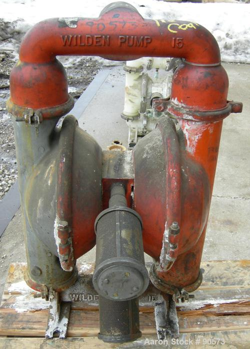 USED: Wilden air operated double diaphragm pump, model M15, 316 stainless steel. Rated 160 gallons per minute at 110 psi. 3/...
