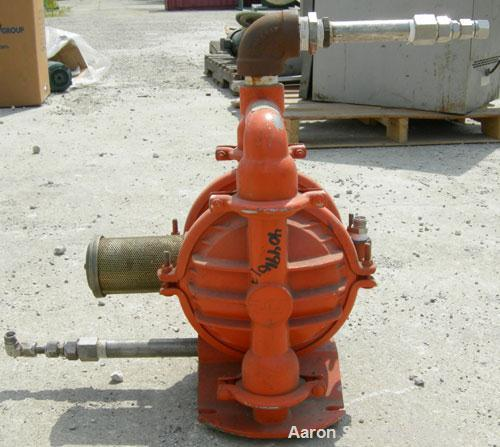 Used- Wilden Air Operated Double Diaphragm Pump, model M4, aluminum construction. Rated approximately 70 gallons per minute,...