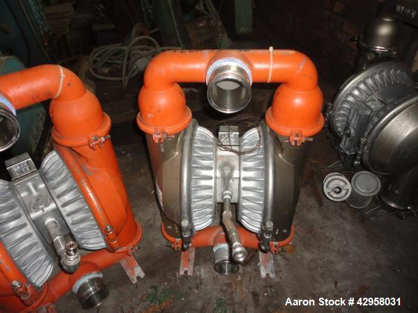 """Used- Wilden 3"""" diaphragm pump, model M5, stainless steel construction, 3"""" inlet/outlet."""