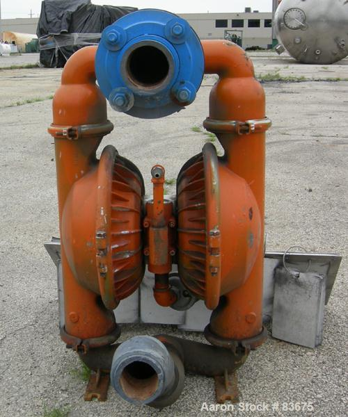 "USED: Wilden air operated double diaphragm pump, model M5, 316 stainless steel. Rated 108 gallons per minute, 125 psi, 5/16""..."