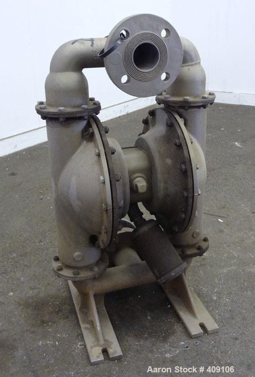 Used- Wilden Air Operated Double Diaphragm Pump, Model M8, 316 Stainless Steel. Rated approximate 156 gallons per minute, 1/...