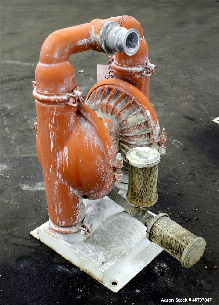 """Used- Wilden Air Operated Double Diaphragm Pump, Model M8, 316 Stainless Steel. 2"""" inlet/outlet. Rated approximate 158 gallo..."""