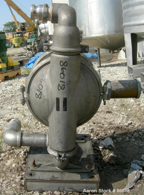 """Used- Wilden Air Operated Double Diaphragm Pump, Model M8, 316 Stainless Steel. Rated 163 gallons per minute, 1/4"""" max solid..."""