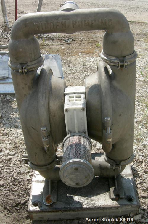 "Used- Wilden Air Operated Double Diaphragm Pump, Model M8, 316 Stainless Steel. Rated 163 gallons per minute, 1/4"" max solid..."