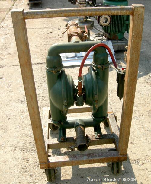 "USED: Wilden air operated double diaphragm pump, model M8, 316 stainless steel. Rated 163 gallons per minute, 1/4"" max solid..."