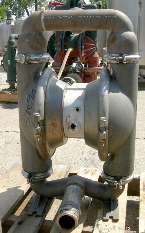 """USED: Wilden air operated double diaphragm pump, model M8, 316 stainless steel. Rated 163 gallons per minute, 1/4"""" max solid..."""