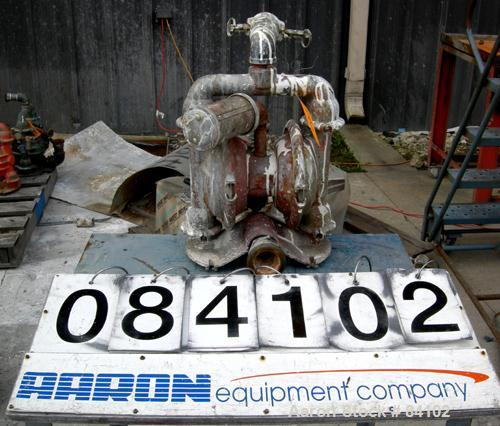 Used- Wilden Air Operated Double Diaphragm Pump, Model M4, Aluminum Construction. Rated approximately 93 gallons per minute....