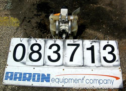 USED: Wilden air operated double diaphragm pump, model P1/PPPP/WF/WF/KTV, polypropylene. Rated 14 gallons per minute, 125 ps...