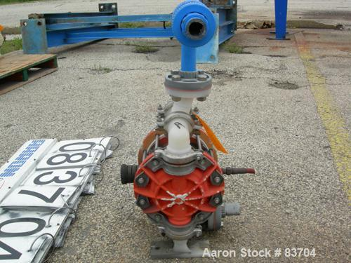 USED: Wilden air operated double diaphragm pump, model P2/PPPP/TF/TF/PTV/400, polypropylene. Rated 37 gallons per minute, 12...