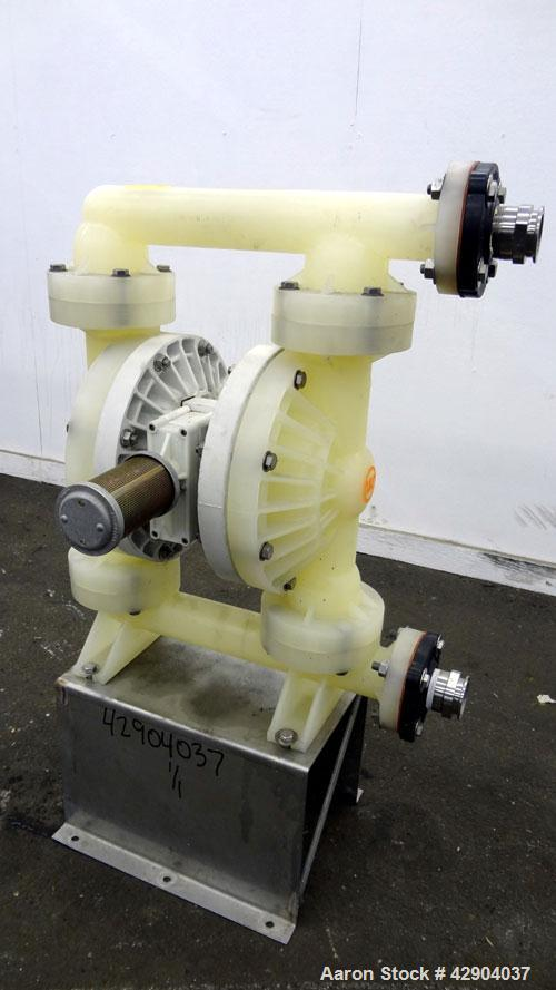 Used- Wilden P800 Advanced Air Operated Double Diaphragm Pump, Model P800/PPPP/TF/TF/PTV, Polypropylene. Rated approximate 1...