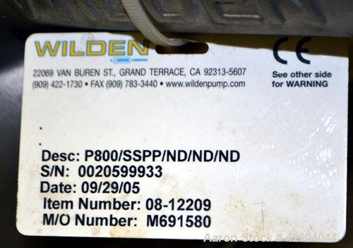 Used- Wilden P800 Pro-Flo Air Operated Double Diaphragm Pump, Model P800/SSPP/ND/ND/ND, 316 Stainless Steel. Rated approxima...