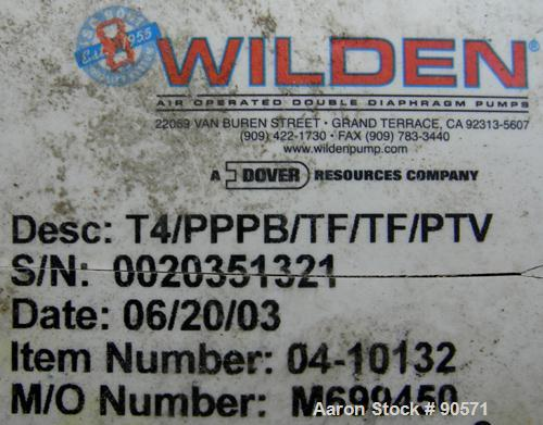 USED: Wilden air operated double diaphragm pump, model T4/PPPB/TF/TF/PTV, plastic. Rated 50 gallons per minute at 80 psi. 3/...