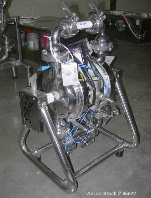 """USED: Wilden air powered diaphragm pump, stainless steel. 1"""" tri clamp inlet/outlet. Serial# S-00286."""