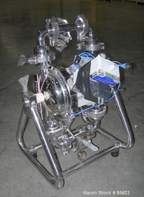 "USED: Wilden air powered diaphragm pump, stainless steel. 1"" tri clamp inlet/outlet. Serial# S-00208."