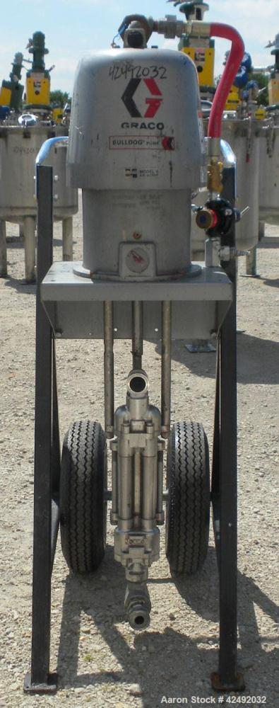 Used- Graco Air Operated Bulldog High-Flo Circulation Pump, Part #220578, Series I02C, 304 Stainless Steel. Rated 24 gallons...