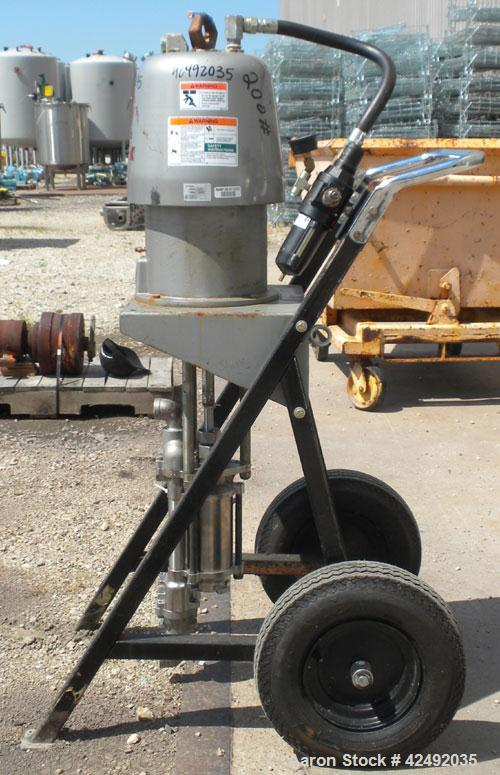 Used- Graco Air Operated Bulldog High-Flo Circulation Pump, Part #220578, Series K02C, 304 Stainless Steel. Rated 24 gallons...