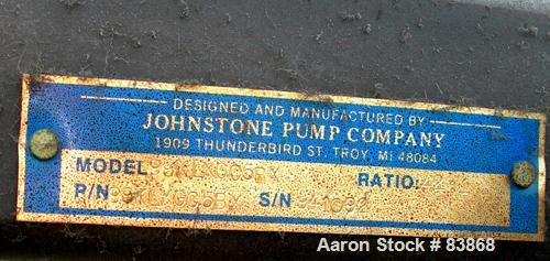 """Used- Johnstone Air Operated 55 Gallon Drum Unloading Pump, Model 98KLXGC5BX. 8"""" Air motor, ratio 42:1, 20 psi to 100 psi op..."""
