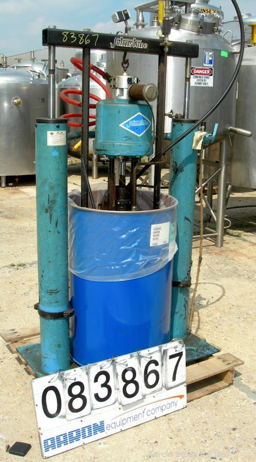 """USED: Johnstone air operated 55 gallon drum unloading pump, model JPC 1001, size S1-8-HDE. 8"""" air motor, ratio 42:1, 20 psi ..."""