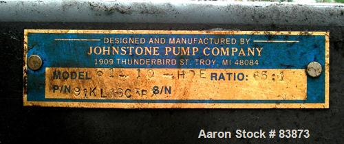 """Used- Johnstone Air Operated 55 Gallon Drum Unloading Pump, Model JPC 1001, Size S1-10-HDE. 10"""" Air motor, ratio 65:1, 20 ps..."""
