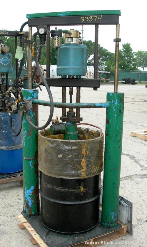 "Used- Johnstone Air Operated 55 Gallon Drum Unloading Pump, Model JPC 1001. 8"" Air motor, ratio 42:1, 20 psi to 100 psi oper..."