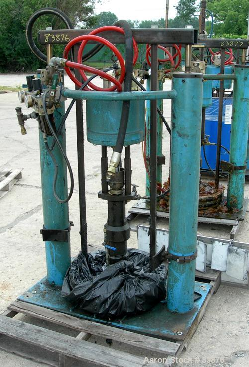 "USED: Johnstone air operated 55 gallon drum unloading pump, model JPC 1001. 8"" air motor, ratio 42:1, 20 psi to 100 psi oper..."