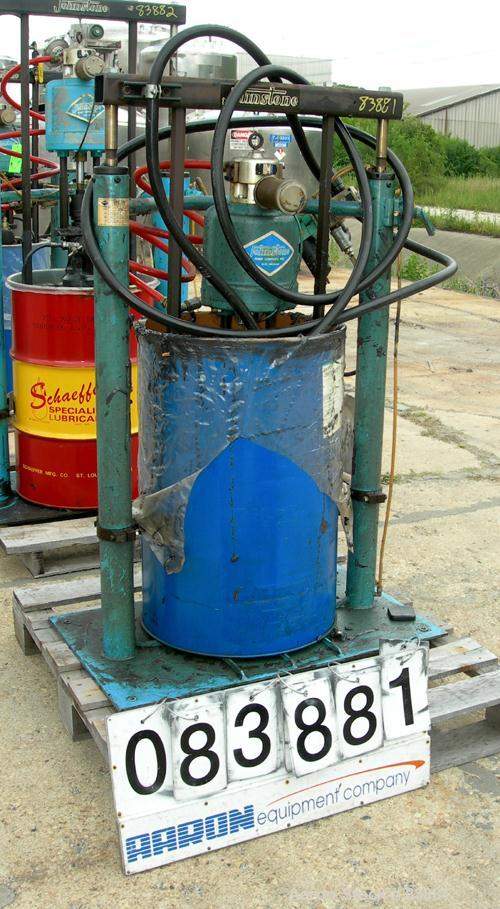 "Used- Johnstone Air Operated 55 Gallon Drum Unloading Pump, Model JPC 1001. 8"" Air motor, ratio 42:1, 20 psi to 100 psi oper..."