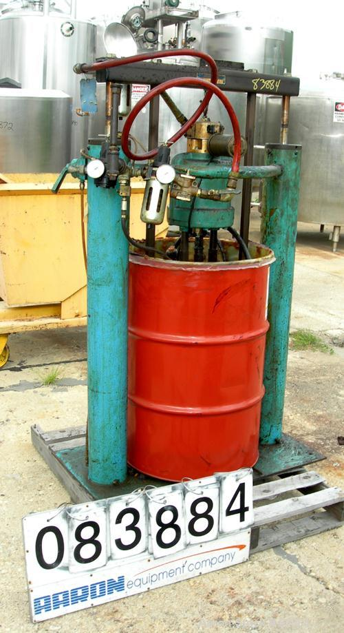"""Used- Johnstone Air Operated 55 Gallon Drum Unloading Pump, Model JPC 1001, Size S1-8-HDE. 8"""" Air motor, ratio 42:1, 20 psi ..."""