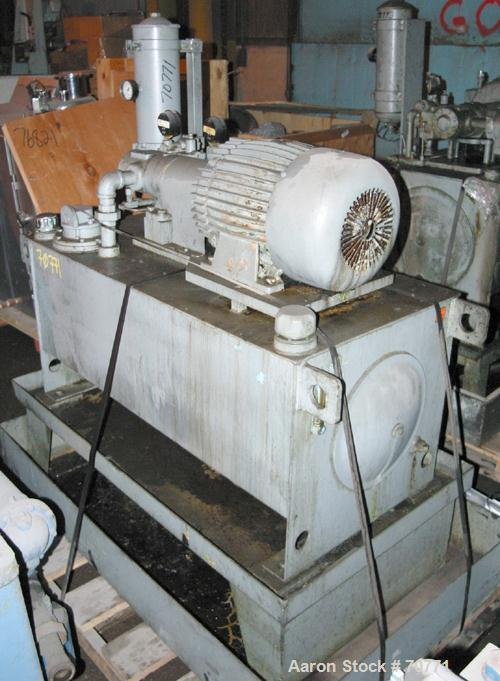 Used- Vickers Hydraulic Power Pack, Model VC-108-GD-0-3DB6. Driven by a 5 hp, 3/60/460 volt, 1175 rpm motor, 60 gallon holdi...