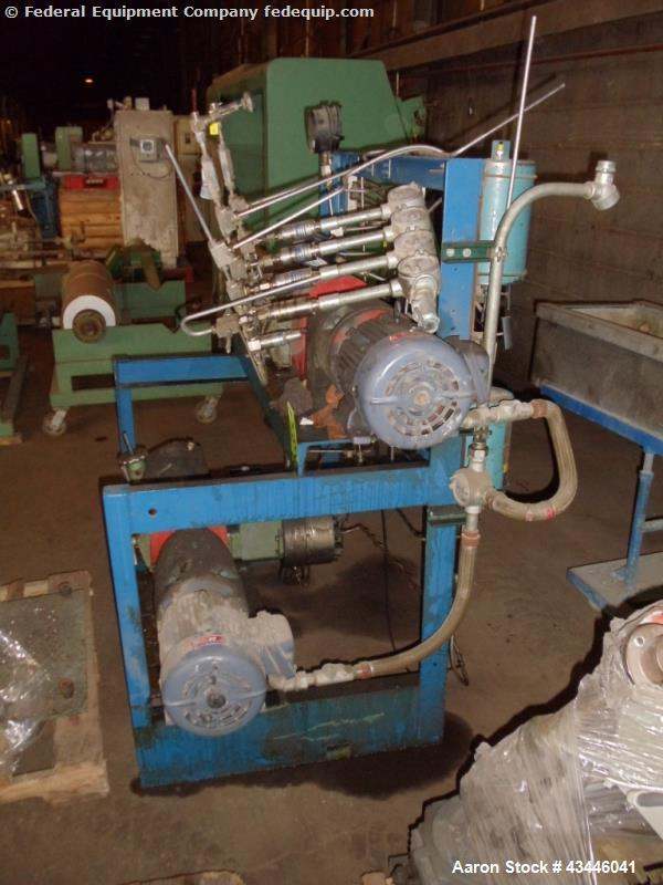 Used-Lewa pump skid with (2) type HM2, rated 190 stokes/minute, 900 kg max plunger load with 5/3 hp, 90/460 volt xp motor dr...
